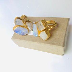 Ethiopian Opal, Raw Rainbow Moonstone, Quartz Ring